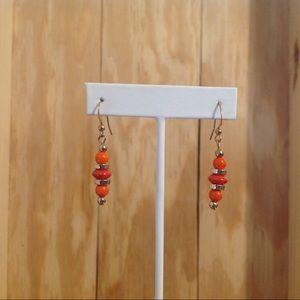Gold Tone Orange Beaded Earrings